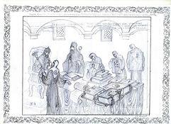 рисунок, лаковая миниатюра, раскол церкви