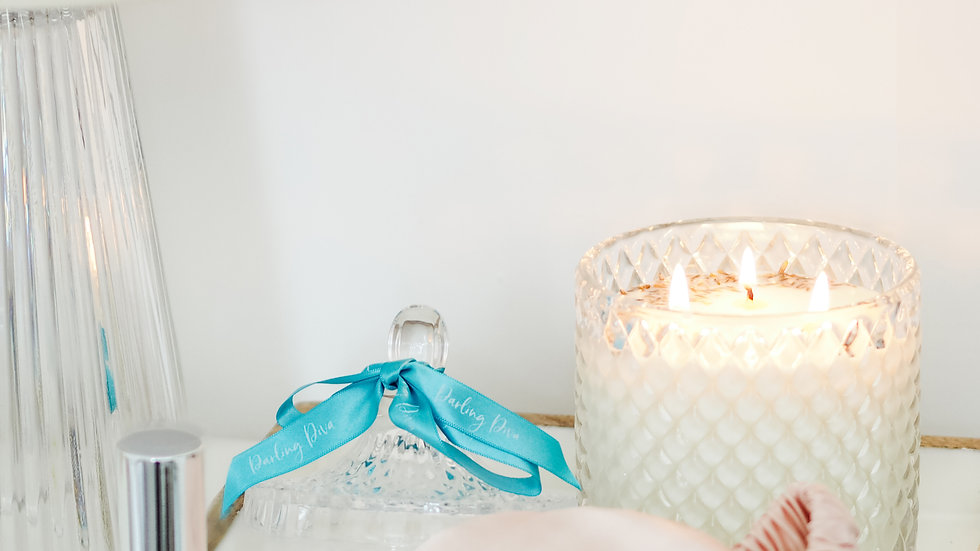 Large Clear Pressed Glass Candle (500cl)