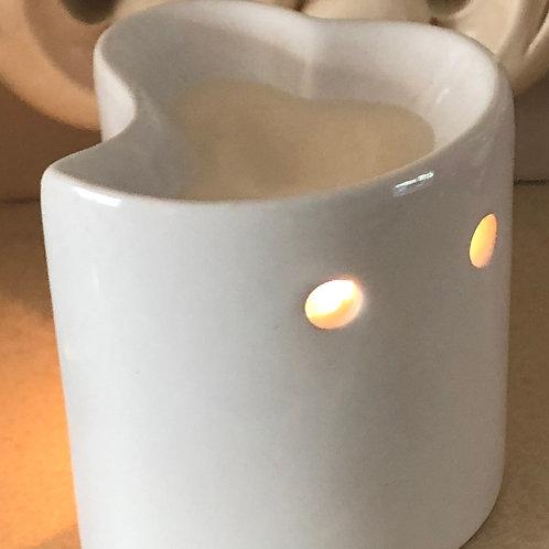White Ceramic Heart Shaped Oil Burner