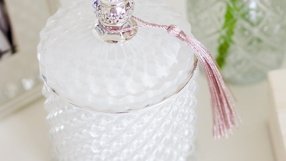 White Pressed Glass Candle (30cl)