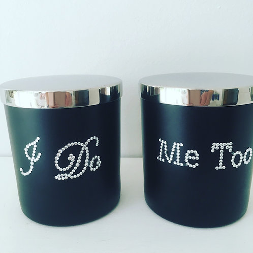 I do, Me Too personalised his and hers wedding candle