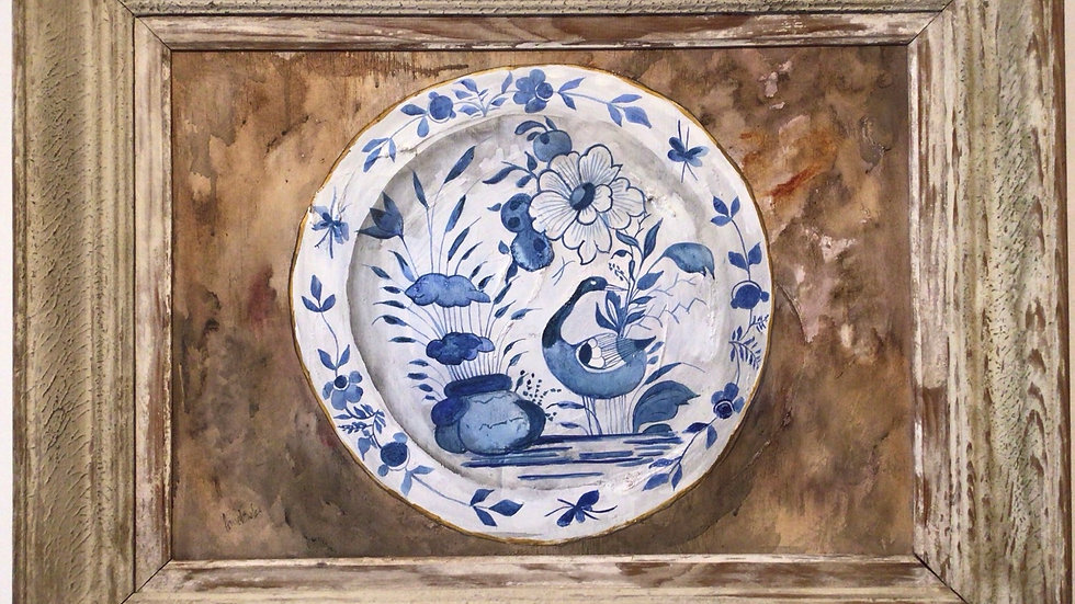 Painting by Anne Fowler -  a Delft plate .  On board with gesso.