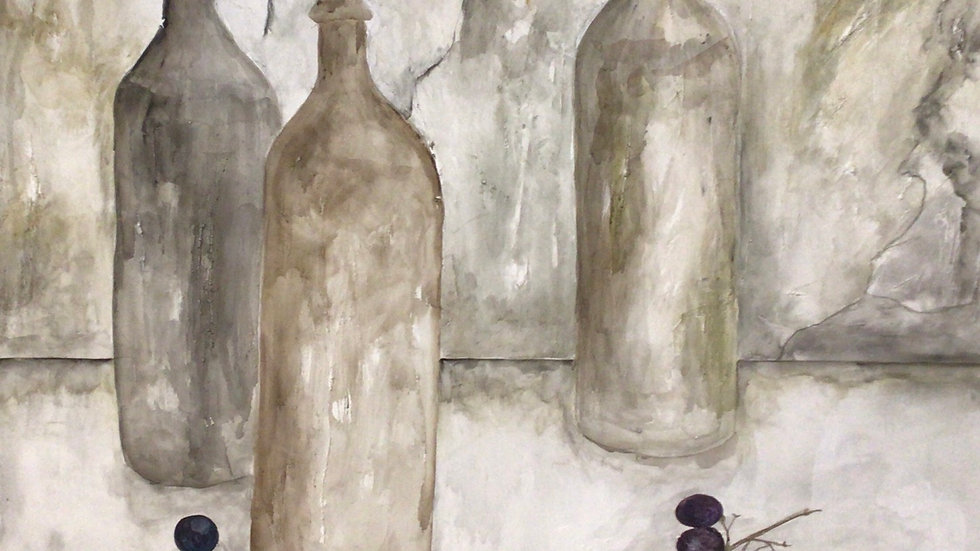 Bottles with grapes