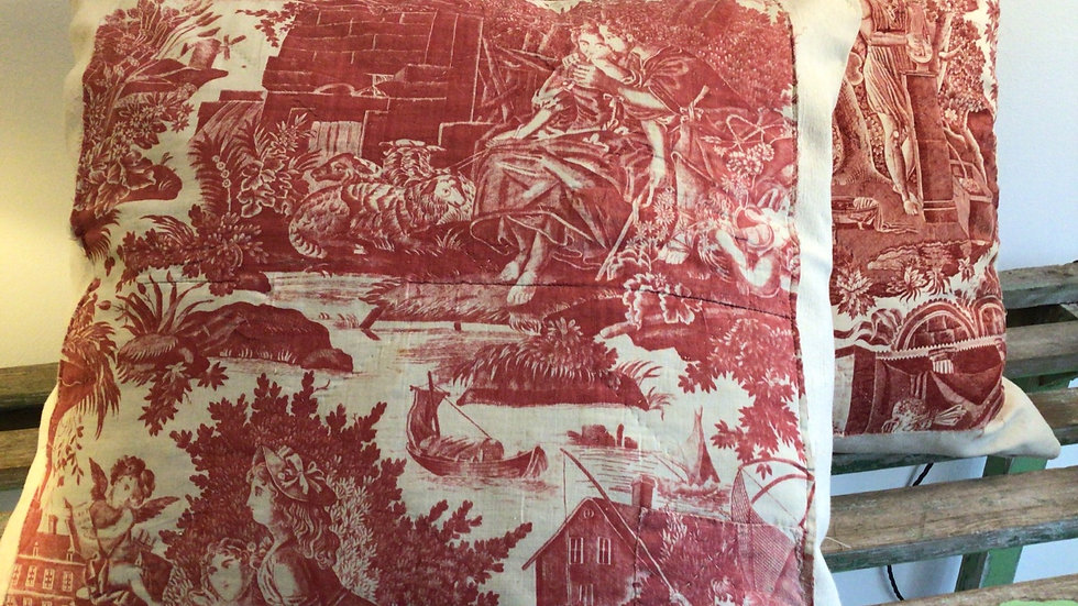Large toile cushions