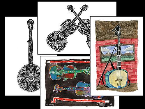 Fiddle & Banjo Greeting Cards