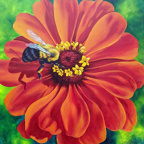 Zinnia and The Bumbler - 24x24