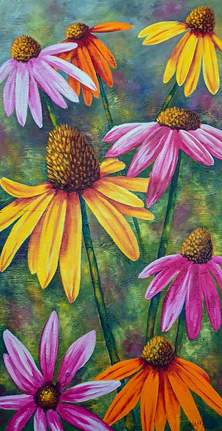 Coneflower Painting on Plywood
