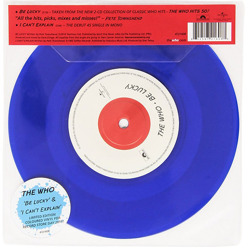 "The Who: Be Lucky/ I Can't Explain Blue Vinyl 45  7"" RPM"