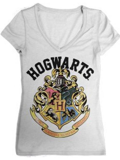 Harry Potter Hogwarts V-Neck Ladies Junior T-Shirt