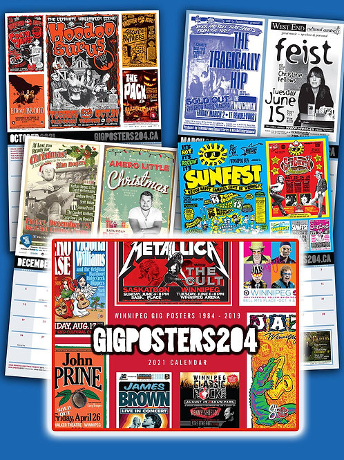 2021 Winnipeg Concert Gigposter 204 Calendar DELUXE PACKAGE