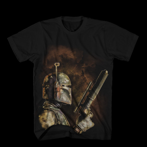 1d06e68c562955 Star Wars The Bounty Hunter Boba Fett T-Shirt. Our best seller at Comic Con  this year. Great side pic of the fan favourite character from the original  Star ...
