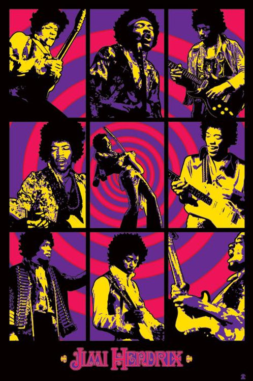Jimi Hendrix Psychedelic Collage Poster