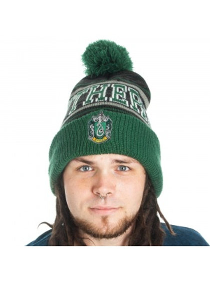 Harry Potter - Slytherin - Jaquard Knit & Embroidered Pom Cuff Beanie