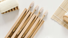 A family set of four wooden bamboo tooth