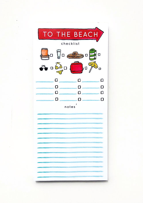 Beach Checklist Notepad