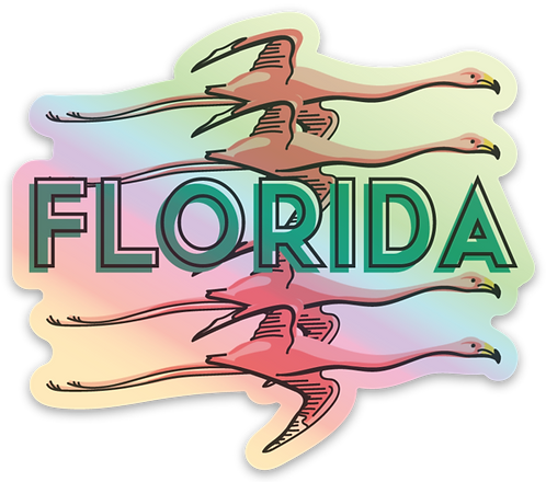 Florida Flamingo Holographic Sticker
