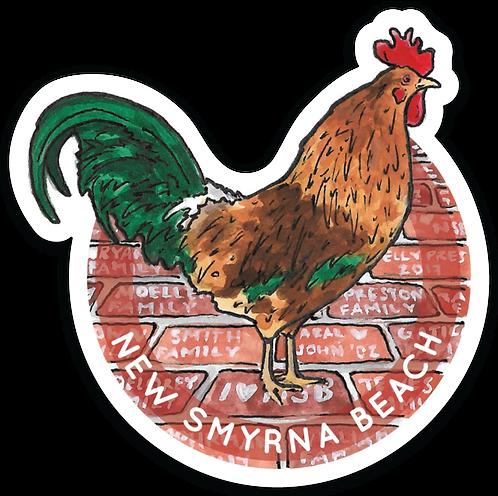 Flagler Avenue Rooster Sticker