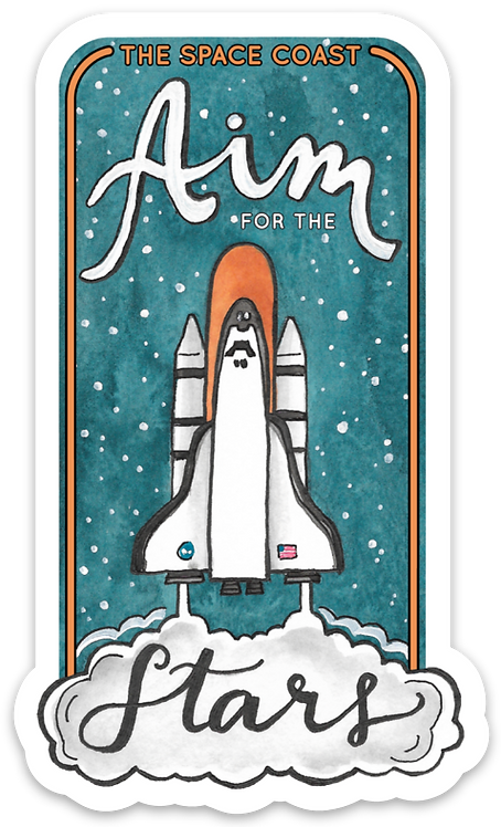 Aim for the Stars Space Coast Sticker