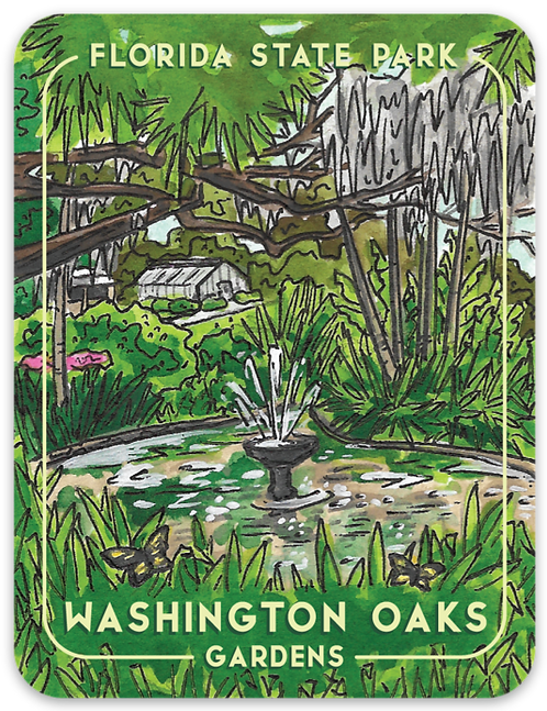 Washington Oaks Gardens Florida State Park Sticker