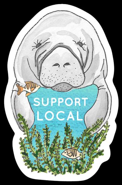 Manatee 'Support Local' Sticker