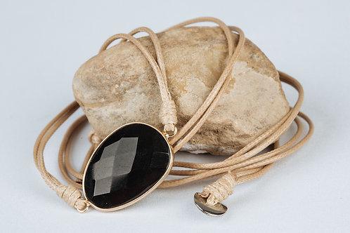 Bracelet «Combatif» - Cuir et Onyx