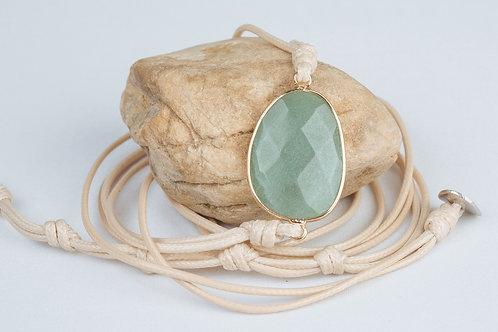 Bracelet «positive» - Cuir et Aventurine Verte