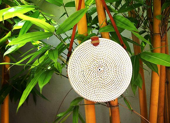 Sac Rond Blanc en Bambou 15cm
