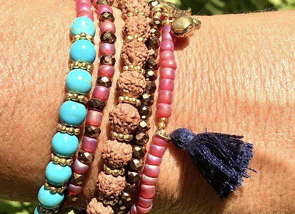 Bracelet Multi-Tours Fuchsia