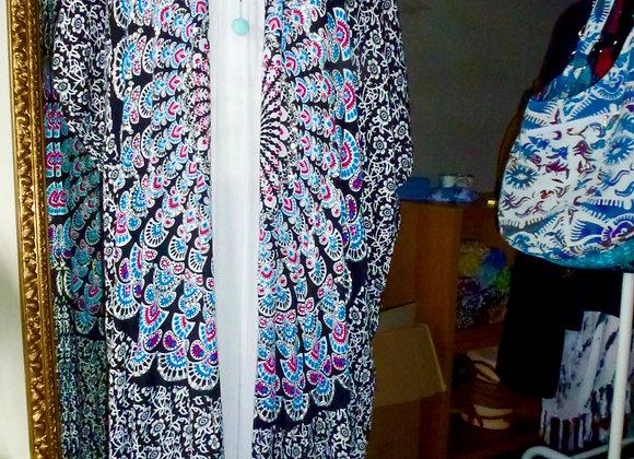 Kimono  Long Noir & Bleu