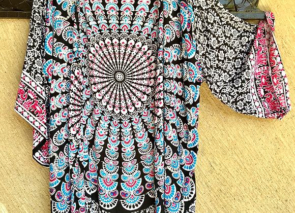 Kimono Noir & Couleurs avec Mandala