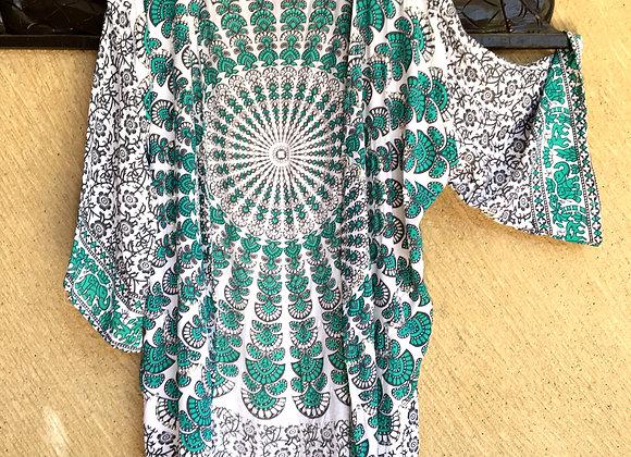 Kimono Noir & Vert avec Mandala