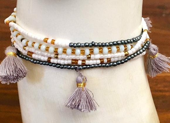 Bracelet Multi-Tour Fin à Pompons Blanc