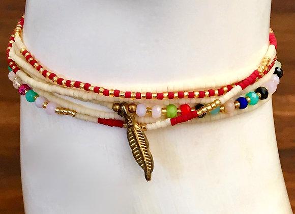 Bracelet Multi-Tour Fin Rouge Crème