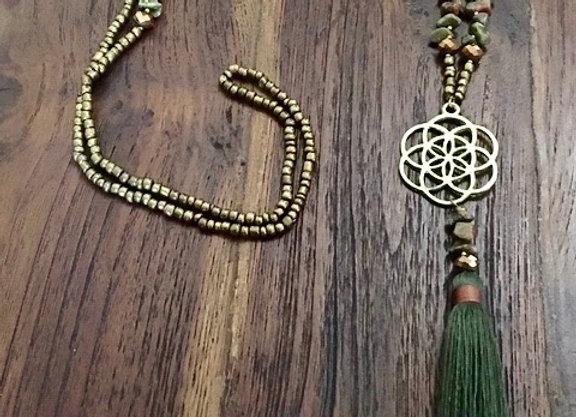 Collier Fleur de Vie & Pompon Vert