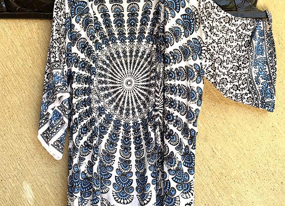 Kimono Noir & Bleu avec Mandala