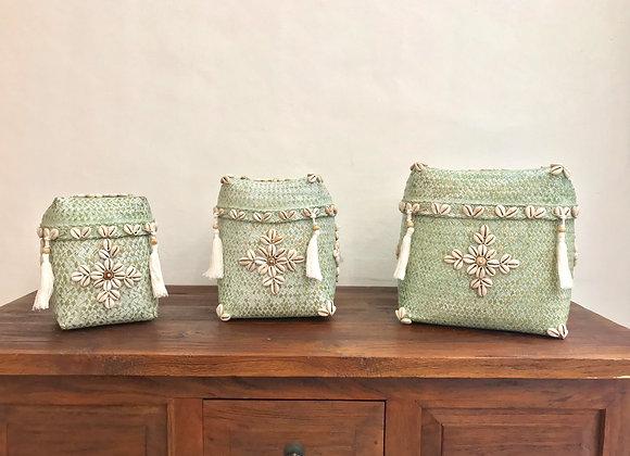 Boîtes Vertes Coquillages & Pompons