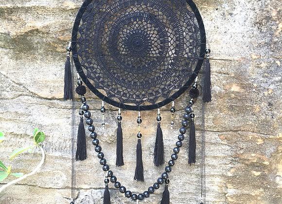 Attrape-Rêves Noir à Pompons 42cm