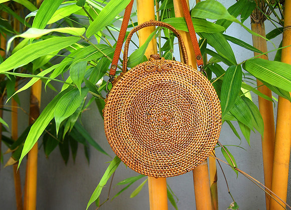 Sac Rond Naturel en Bambou avec Anse 20cm