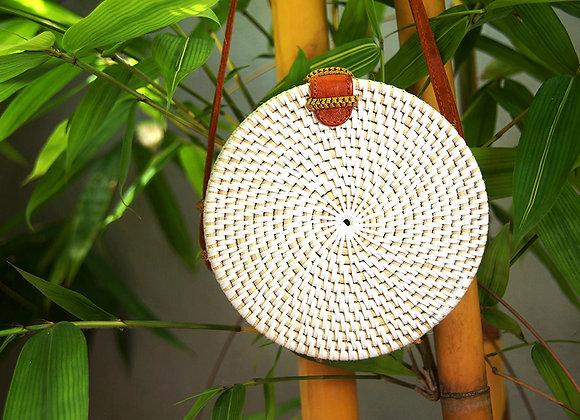 Sac Rond Blanc en Bambou 20cm