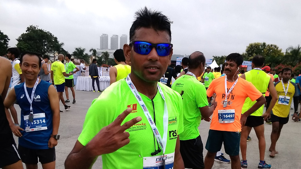 Photo session after completing 10K marathon in 45 minutes.
