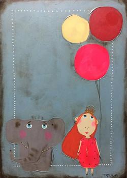 Картина Девочка и слоник