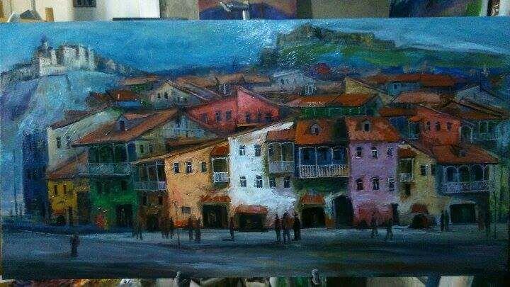 Картина Город 50х100