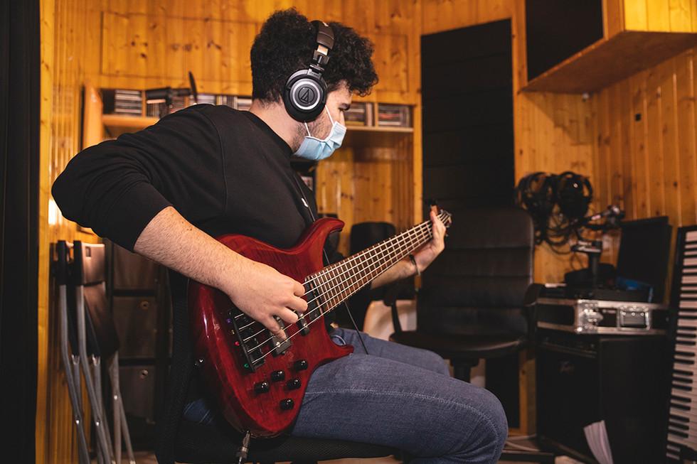 Manuel (bass & backing vocals) Recording at Jotun Studio