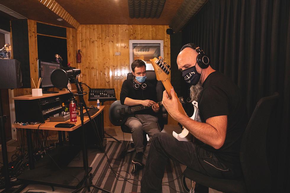 Carlos (lead guitars) & Leo (producer) Recording at Jotun Studio