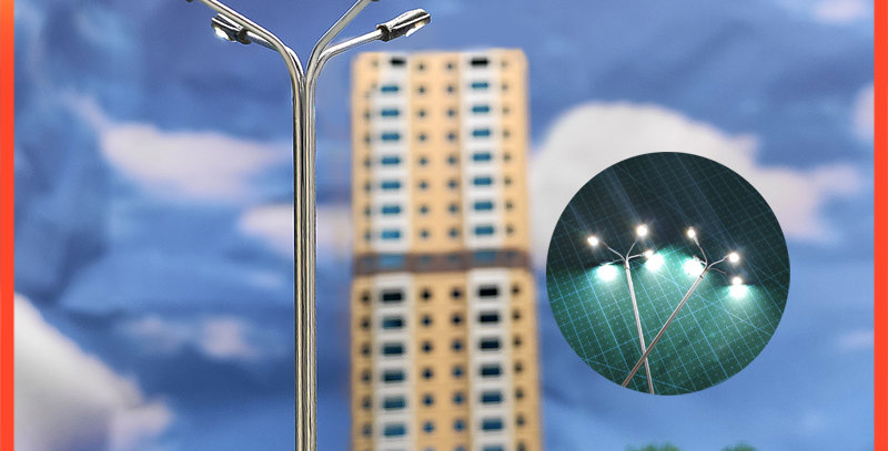 2pcs 1:87/1:100 Scale Street Lamp 4 Led Lamppost Diy Material Light Train Layout