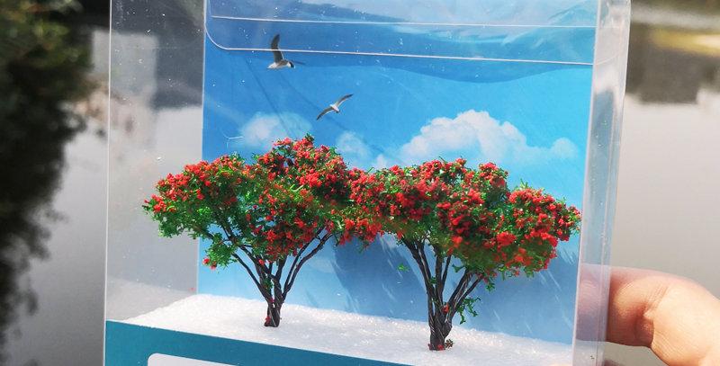 65mm Handmade mental wire model trees 1/87HO Scale(Flower) WT7105065