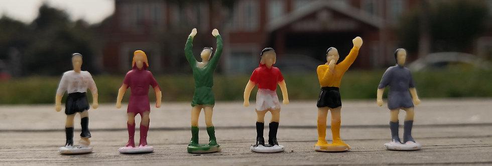 方寸景微缩仿真足球玩家人物模型,1:87th HO scale model figures of football players, sand table, model railway/railroad/trains. miniatures.