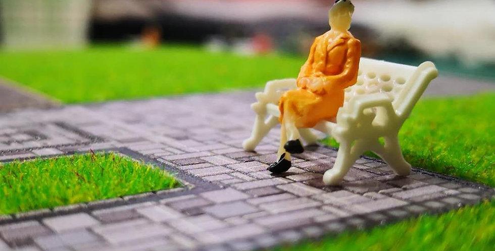1:87th HO scale white model park bench,  model railway/railroad/train layouts and scenes