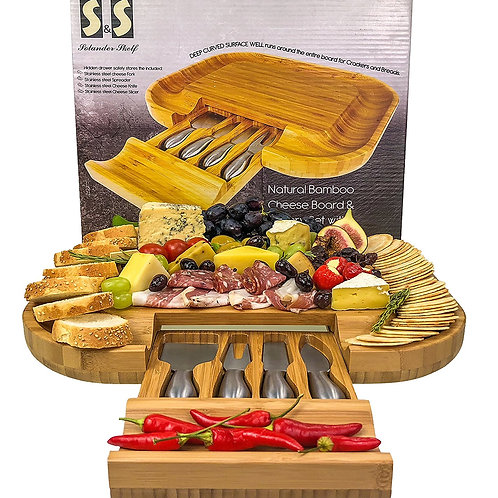 Bamboo Cheese Board With Cutlery Set | Wood Charcuterie Platter & Serving Meat