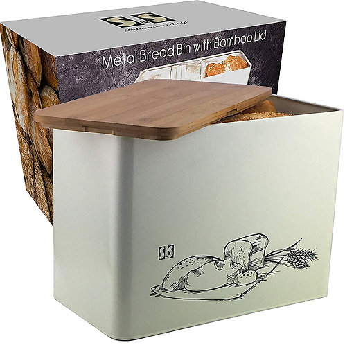 Metal Bread Box With Cutting Board Lid | Eco Bamboo bread boxes | Large Vertical